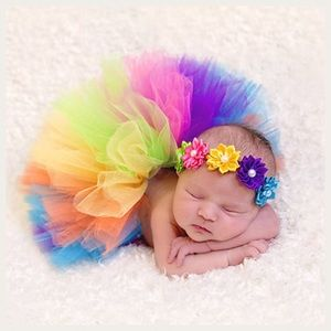 Other - Newborn Baby Rainbow Tutu and Headband Photo Prop
